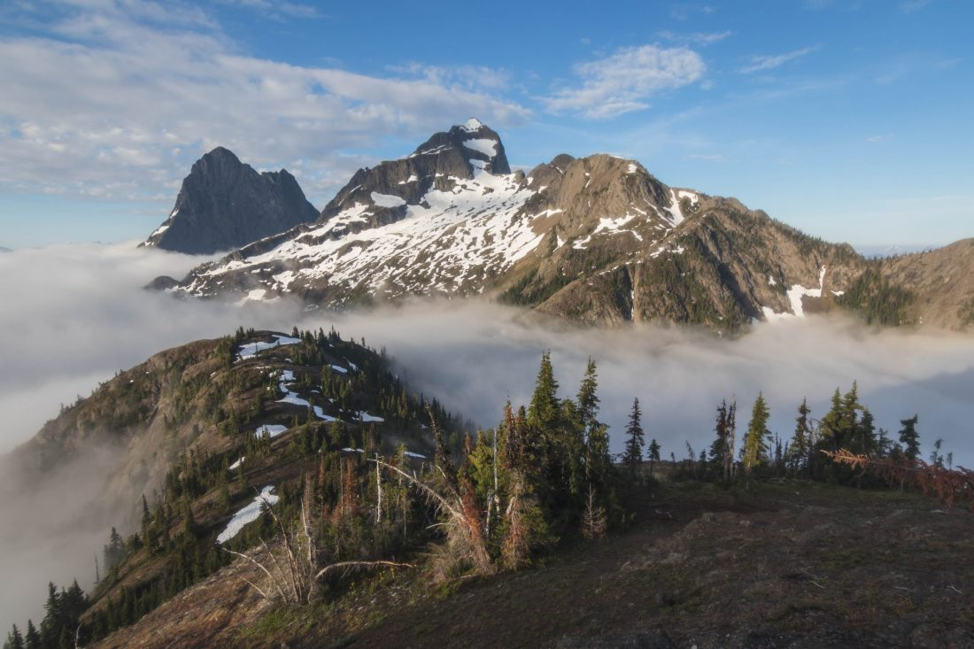 Hozomeen Mountain with morning inversion